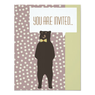 brown bow bear party like animals invitation