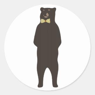brown bow bear round sticker