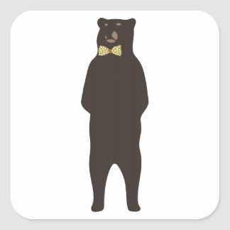 brown bow bear square sticker
