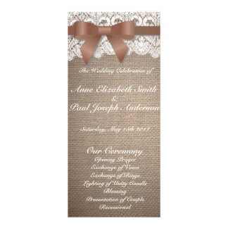 Brown bow burlap and Lace wedding programs