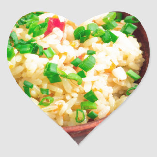Brown bowl with a portion of cooked rice heart sticker