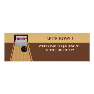 Brown Bowling Birthday Party Banner Poster