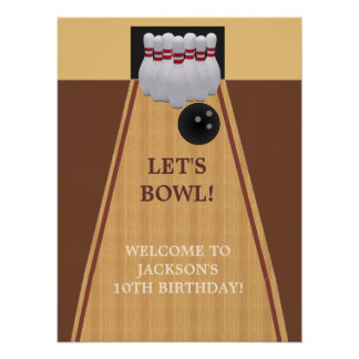 Brown Bowling Birthday Party Poster