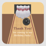 Brown Bowling Birthday Party Sticker