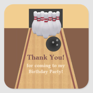 Brown Bowling Birthday Party Sticker Square Sticker
