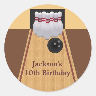 Brown Bowling Birthday Party Sticker Round Sticker