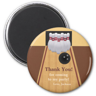 Brown Bowling Birthday Party Thank You Magnet