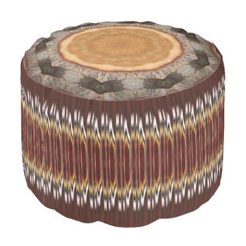 Brown Bracelet Wood Pattern Polyester Round Pouf