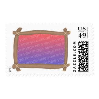 Brown branch frame, add photo postage stamps