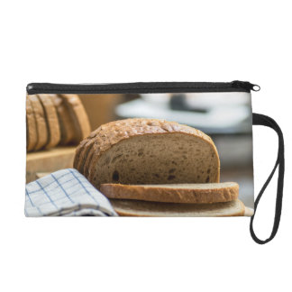 Brown bread wristlet purse
