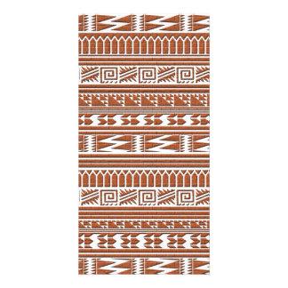 Brown Brick Geometric Aztec Tribal Print Pattern Card