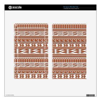 Brown Brick Geometric Aztec Tribal Print Pattern Kindle Fire Skins