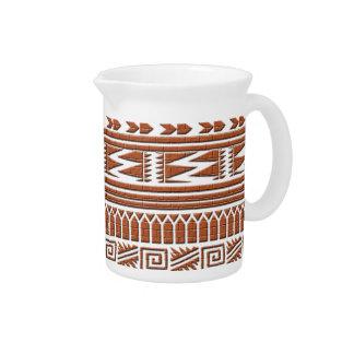 Brown Brick Geometric Aztec Tribal Print Pattern Pitcher