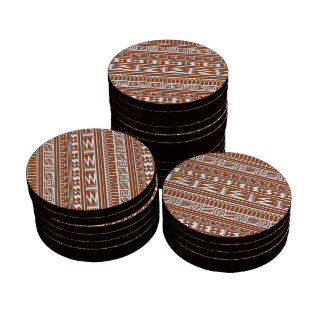 Brown Brick Geometric Aztec Tribal Print Pattern Set Of Poker Chips