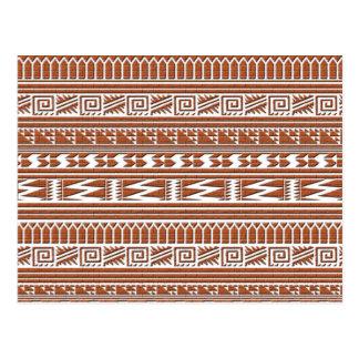 Brown Brick Geometric Aztec Tribal Print Pattern Postcard