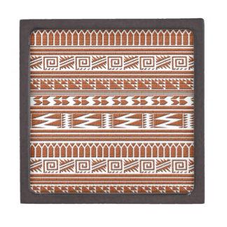 Brown Brick Geometric Aztec Tribal Print Pattern Premium Trinket Boxes
