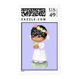 Brown Bride Postage Stamp