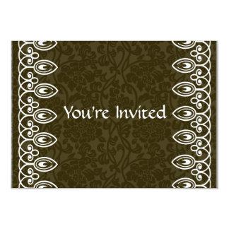 Brown Brocade Birthday Invitation