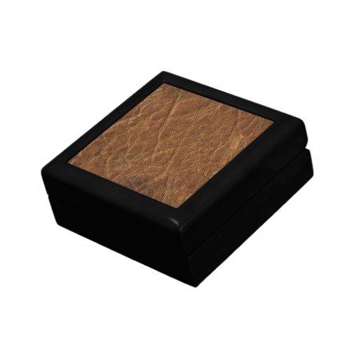 Brown bronceó el fondo de cuero de la textura joyero cuadrado pequeño