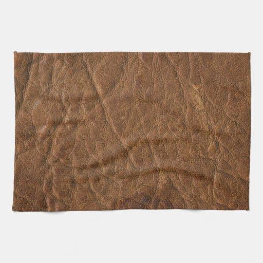 Brown bronceó el fondo de cuero de la textura toalla