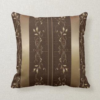 Brown  & Bronze Floral Pattern Design Throw Pillow