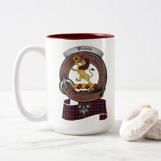 Brown/Broun Clan Badge Two Tone 15oz Mug