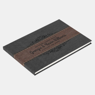 Brown & Brown Leather Black Floral Accent Guest Book