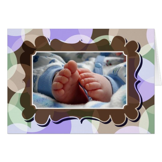 Brown Bubbles First Birthday Frame Card