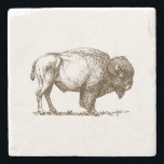 "Brown Buffalo Bison Stone Coaster<br><div class=""desc"">Brown Buffalo Bison Illustration Coaster</div>"