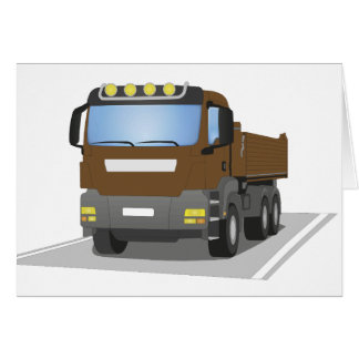 brown building sites truck card