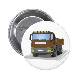 brown building sites truck pinback button