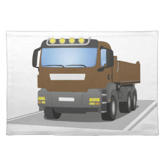 brown building sites truck placemat