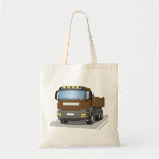 brown building sites truck tote bag