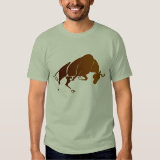 Brown bull charging t-shirt