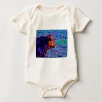 BROWN BULL PURPLE GRASS BABY BODYSUIT