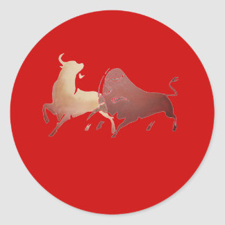 Brown Bullfight 2 PNG Classic Round Sticker