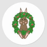 Brown Bunny And Christmas Wreath Round Stickers