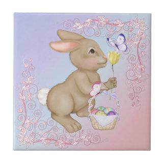 Brown Bunny and Egg Basket Ceramic Tile