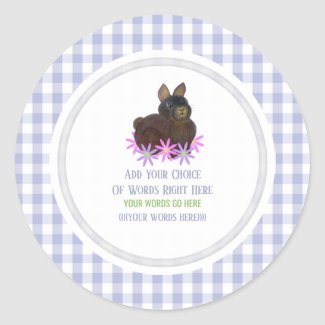 Brown Bunny And Gingham Classic Round Sticker