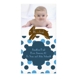 Brown Bunny Blue Birth Announcement Photo Card