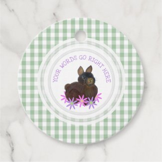 Brown Bunny Gingham Personalized Favor Tags