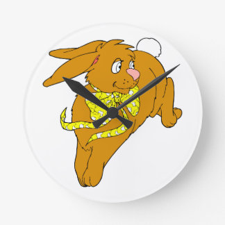 brown bunny hop yellow bow graphic.png round clock