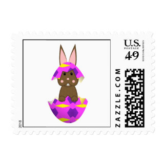 Brown Bunny In A Pink Egg Postage