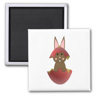 Brown Bunny In A Red Christmas Ornament 2 Inch Square Magnet