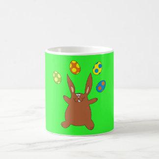 Brown Bunny Juggling Easter Eggs Cute Mugs