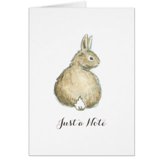 Brown Bunny Note Card - White