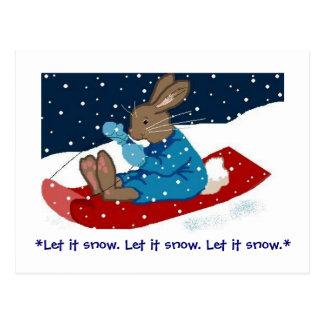 Brown Bunny on Sled Postcard