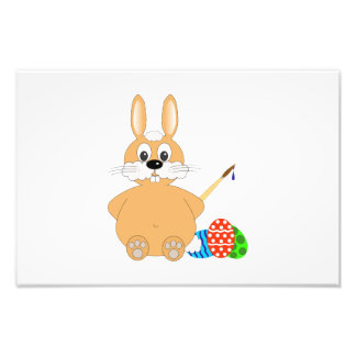 Brown bunny painting Easter eggs cartoon Art Photo