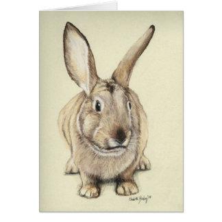 """Brown Bunny"" Rabbit Animal Art Greeting Card Card"