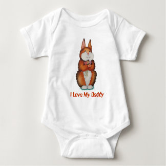 brown Bunny rabbit colorful flowers cute design Baby Bodysuit